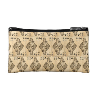 Vintage Queen Clubs PLaying Cards Collage Cosmetic Bag
