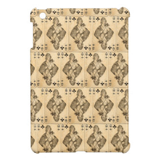 Vintage Queen Clubs PLaying Cards Collage Cover For The iPad Mini