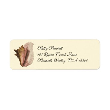 YesterdayCafe Vintage Queen Conch Seashell Shell, Marine Animal Label