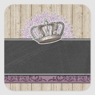 Vintage Queen Crown on Rustic Wood & Chalkboard Square Sticker