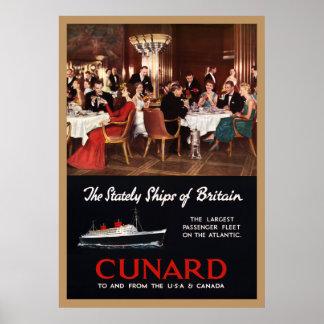 Vintage Queen Elizabeth Cunard Lines Travel Poster