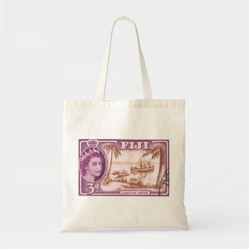Vintage Queen Elizabeth Fiji Canvas Bags