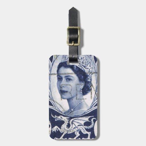 Vintage Queen Elizabeth UK Britain Luggage Tag