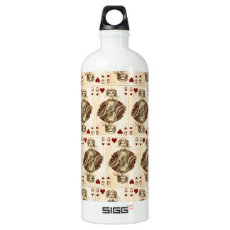 Vintage Queen Hearts PLaying Cards Collage Aluminum Water Bottle