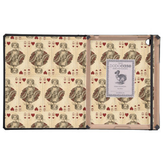 Vintage Queen Hearts PLaying Cards Collage iPad Case