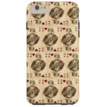 Vintage Queen Hearts PLaying Cards Collage Tough iPhone 6 Plus Case