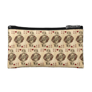 Vintage Queen Hearts PLaying Cards Collage Makeup Bag