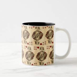 Vintage Queen Hearts PLaying Cards Collage Two-Tone Coffee Mug