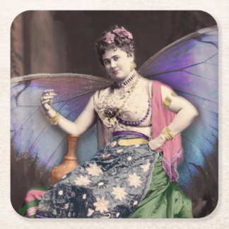 Vintage Queen of the Faeries Image Square Paper Coaster