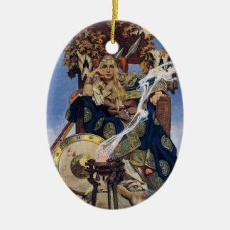 Vintage Queen Warrior Woman Ceramic Ornament