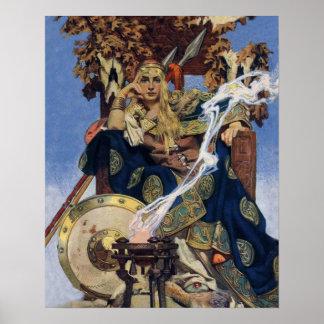 Vintage Queen Warrior Woman Posters
