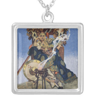 Vintage Queen Warrior Woman Silver Plated Necklace