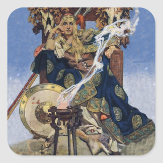 Vintage Queen Warrior Woman Square Sticker