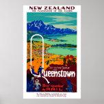 Vintage Queenstown New Zealand Travel Poster