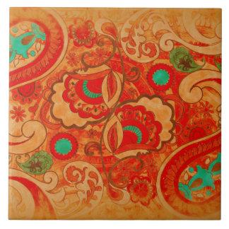 Vintage quemado enrrollado Paisley de la turquesa Azulejo Cuadrado Grande