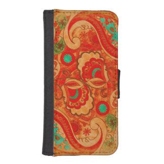 Vintage quemado enrrollado Paisley de la turquesa Fundas Tipo Billetera Para iPhone 5