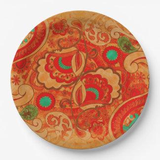 Vintage quemado enrrollado Paisley de la turquesa Platos De Papel
