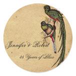 Vintage Quetzal Bird Elegant Envelope Seal Classic Round Sticker