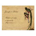 Vintage Quetzal Bird Elegant RSVP Postcard