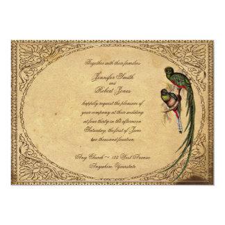 Vintage Quetzal Bird Elegant Wedding Invitation