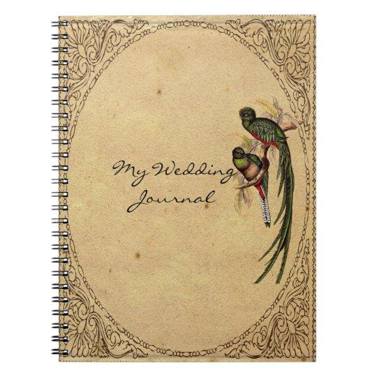 Vintage Quetzal Bird Elegant Wedding Journal