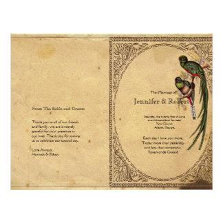 Vintage Quetzal Bird Elegant  Wedding Program