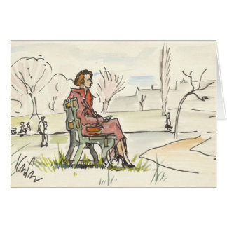 Vintage Quiet Moment Notecard Stationery Note Card