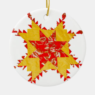 Vintage Quilt Red and Yellow Ceramic Ornament