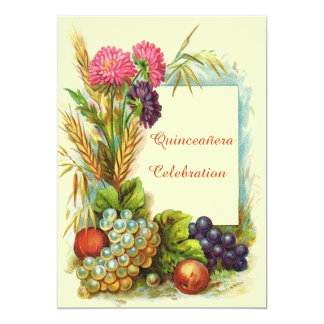 Vintage Quinceañera Colorful Fruits & Flowers Invitation