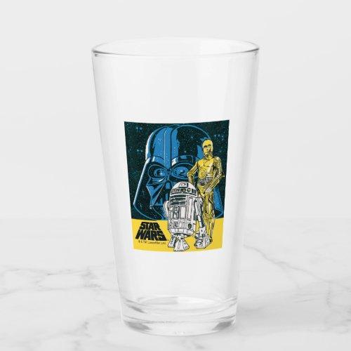 Vintage R2_D2 C_3PO Darth Vader Star Collage Glass