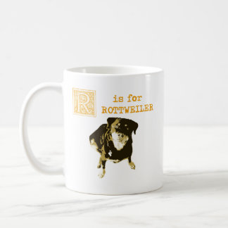 "Vintage ""R"" is for Rottweiler Personalized Coffee Mug"