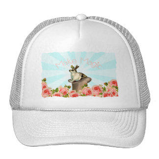 Vintage Rabbit and Roses Hat