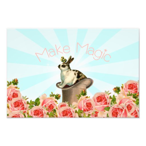 Vintage Rabbit and Roses Photo Print