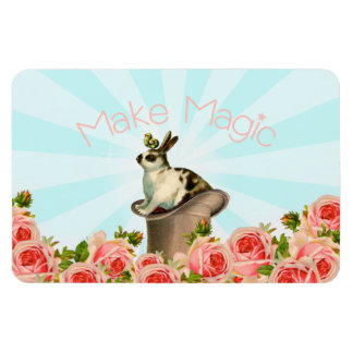 Vintage Rabbit and Roses Magnet