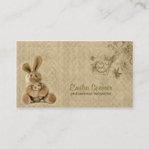 Vintage Rabbit Babysitting & Childcare Card