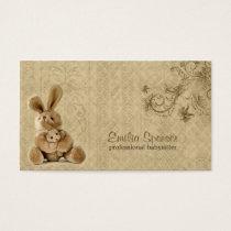 Vintage Rabbit Babysitting & Childcare Card