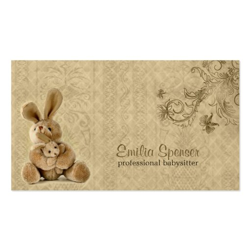Vintage Rabbit Babysitting & Childcare Card Business Card