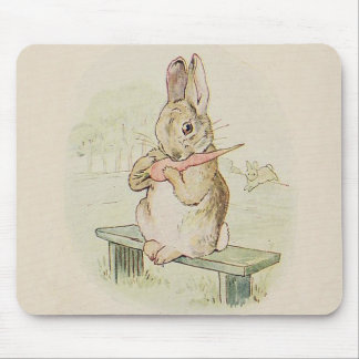 VINTAGE RABBIT EATING A CARROT, CUTE BUNNY GIFT MOUSE PAD