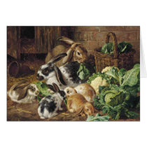 Vintage - Rabbit Family Eating Vegetables,