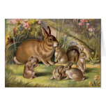 Vintage Rabbit Family Greeting Card