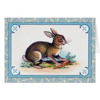 Vintage Rabbit Print Greeting Cards