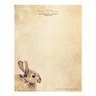Vintage Rabbit Sketch Personalized Letterhead