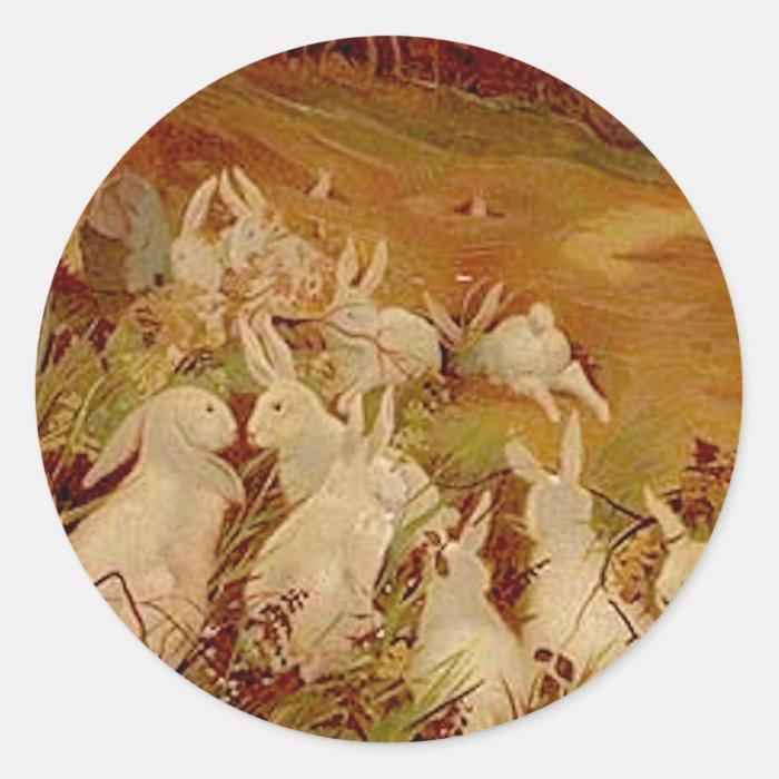 Vintage Rabbits Classic Round Sticker