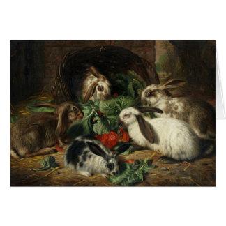 Vintage - Rabbits Eating Together, Card