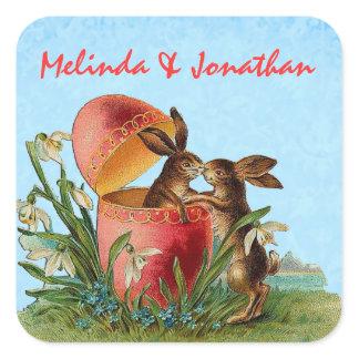 Vintage Rabbits Kissing Wedding Square Sticker