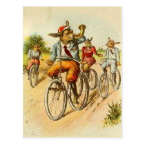 Vintage Rabbits Riding Bicycles Postcard