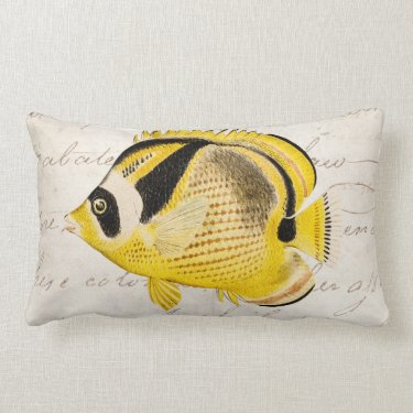 Vintage Raccoon Butterfly Fish - Antique Hawaiian Pillows
