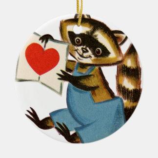 Vintage Raccoon Love Ceramic Ornament