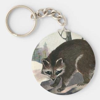 Vintage Raccoon, Wild Animal Forest Creatures Keychain