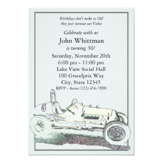 Vintage Race Car/ Birthday Invite